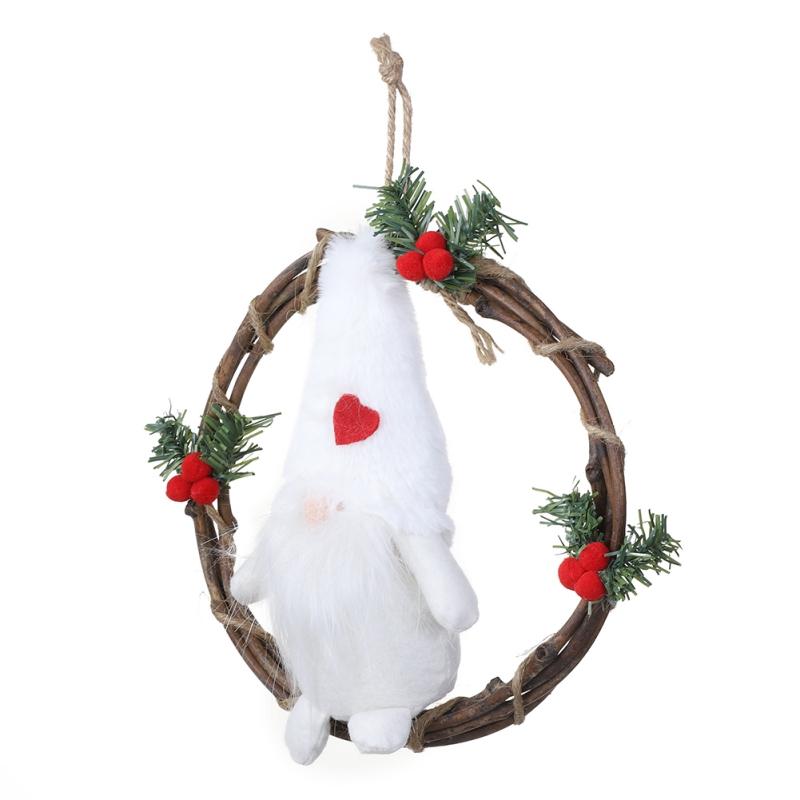 Plush Gnome Rattan Wreath Christmas Garlands Front Door ...
